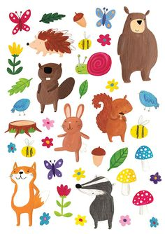 Becky Down: 38 Hand Cut Illustrated Forest Character Stickers for Children, Birthday Parties,Gifts, Scrapbook, Stocking Filler Children's Book Illustration, Character Illustration, Illustrations, Animal Doodles, Woodland Creatures, Kids Prints, Cute Characters, Art For Kids, Art Projects