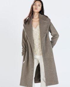 WOOL COAT WITH BELT from Zara