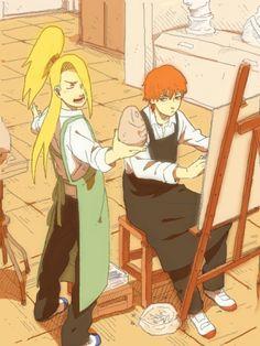 The akatsuki artists. I bet they are discussing who's art is the best...again :D #deidara #sasori #akatsuki
