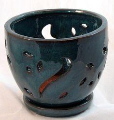 """Ceramic Round Orchid Pot/Saucer - 7"""" x 5 3/4"""" - Aqua"""