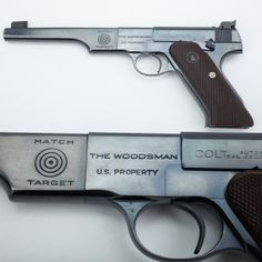 """Colt Woodsman - Colt's 1938 redesign of the Match Target boasted 4 of 6 National matches records in .22 pistol competition in 1939. In 1943, as they received orders of these semi-automatic pistols, Ordnance officials began stamping """"U.S. Property"""" on the left side of the receiver. Reviewed by Guy H. Drewry, an Army Ordnance inspector at the Colt factory, this pistol was one of many drafted into military service and later issued to Navy, Marine Corps or Coast Guard units."""