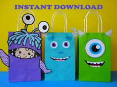 Instant Download Monsters Inc Favor Bags - Monsters Inc Party/ Goody/ Candy/ Goodie/Treat/ Loot Bags. Monsters University Birthday Party by CreativePartyStudio on Etsy Monsters University Birthday Favors, Monsters cake, monsters cookies, monsters invite, monsters labels, monsters toppers, monsters cupcakes. Monsters party decoration/ monsters inc birthday ideas/ favors/ goodie bags/ sulley/ mike monsters/ monsters inc baby shower/ monsters inc 1st/ first birthday party/ monsters inc movie