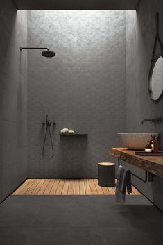 Concrete-look tiles from the Arnold Lammering tile studio. Arnold Lammering GmbH - Concrete-look tiles from the Arnold Lammering tile studio. Arnold Lammering GmbH Concrete-look tiles from the Arnold Lammering tile studio. Bad Inspiration, Bathroom Inspiration, Bathroom Inspo, Bathroom Design Luxury, Home Interior Design, Minimalist Bathroom Design, Dream Bathrooms, Small Bathroom, Houzz Bathroom