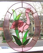 14.5 inch Pink Flamingo Stained Glass Suncatcher 3-D