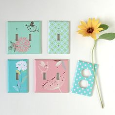 Turn boring switch plates & outlet covers into attractive ones w/ simple materials in this easy tutorial! They make lovely gifts too!