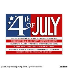 Fourth of july party invitation july 4th pool partybbq invite you 4th of july us flag party invitation stopboris Images