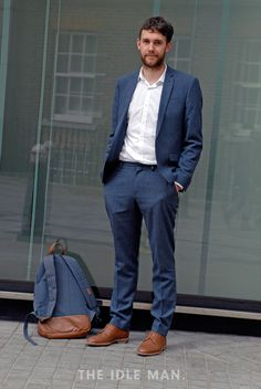 Men's street style | Office Indie - This is a more casual, individual office style, which we love. Match this look by trying a textured blazer, slim navy trousers and tan woven loafers. | Shop the look at The Idle Man