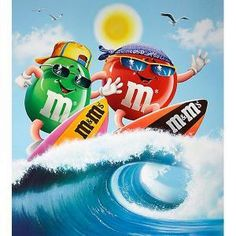 M and & M's surfing! Look for them at the beach! M M Candy, Best Candy, Favorite Candy, Crocodile, M&m Characters, M Wallpaper, House Of M, 70th Birthday Parties, Melt In Your Mouth