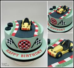 Go-o-o-o-o Kart ! 40th Cake, Dad Cake, Dad Birthday Cakes, Race Track Cake, Race Car Cakes, Cupcake Party, Cupcake Cakes, Fondant, Sport Cakes
