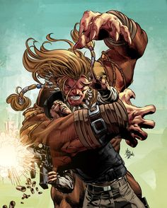 mikedeodatojr:  Sabretooth in action. Colors by Rain