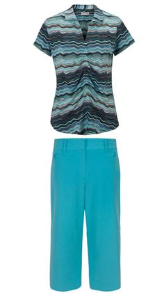 Be Bold and Uniquely feminine with this outfit! Sport Haley Ladies Golf Outfit (Shirt & Capris/Crop Pants) - Be Bold (Turquoise) #Sports #Outfit #Ladies #Fashion #Apparel #Golf #Turquoise
