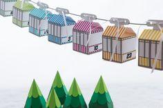 DIY Adventskalender: Weihnachtskalender mit Seilbahn für Kinder zum Selberbasteln, Bastelset / DIY advent calendar: christmas calendar with cable cars for children to craft themselves, tinkering set made by creatyve-design via DaWanda.com