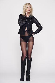 Miriam Wears Anika Leather Sleeves Black Denim Jacket