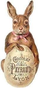 Easter Bunny with Big Chocolate Egg Antique Vtg French Die Cut Chromo Trade Card
