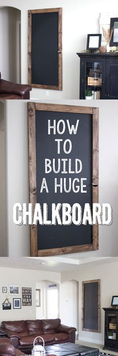 DIY Home Decor Inspiration : How to Build a Huge Chalkboard for CHEAP! This step-by-step tutorial is so great. Design Furniture, Diy Furniture, Building Furniture, Cool Diy Projects, Home Projects, Ikea Hacks, Diy Wall Art, Wall Decor, Room Decor