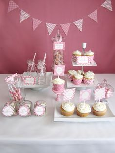 Pink Chevron sweets table