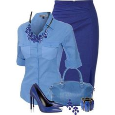 A fashion look from July 2013 featuring Blumarine skirts, Yves Saint Laurent pumps and Status Anxiety shoulder bags. Browse and shop related looks. Fashion Mode, Work Fashion, Fashion Looks, Womens Fashion, Fashion Trends, Blue Fashion, Classy Outfits, Stylish Outfits, Mode Outfits