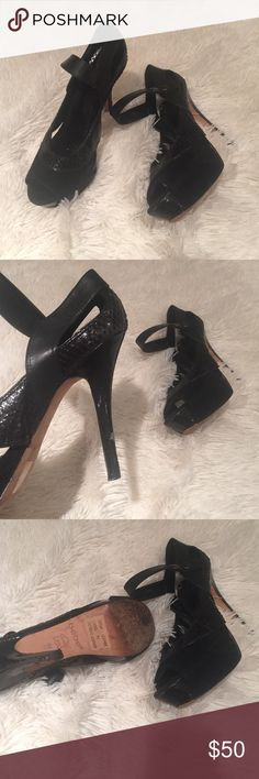 Black Heeled Platforms Cute black heels perfect for clubbing bebe Shoes Platforms