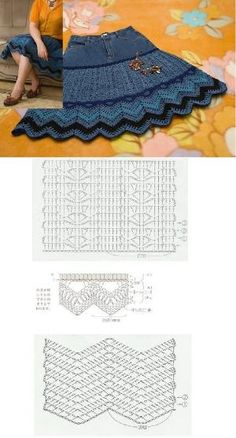 upcycle your old pair of jeans to make this beautiful summery denim skirt - easy and practical crochet! : upcycle your old pair of jeans to make this beautiful summery denim skirt - easy and practical crochet! Crochet Purse Patterns, Crochet Stitches, Knit Crochet, Crochet Summer, Skirt Patterns, Crochet Jacket, Knitting Patterns, Sewing Clothes, Crochet Clothes
