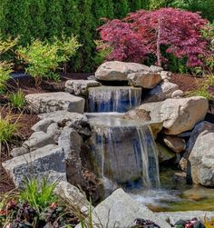 53 Backyard Garden Waterfalls (Pictures of Designs) Backyard rock waterfall ideas Waterfall Landscaping, Pond Landscaping, Landscaping With Rocks, Backyard Water Feature, Ponds Backyard, Water Falls Backyard, Backyard Ideas, Backyard Designs, Landscape Design