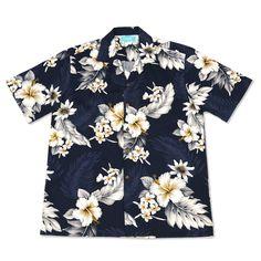 blueberry hawaiian cotton shirt