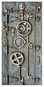 Steampunk Micki: Steampunk Doors--this is a cover for a full-size door, but could easily be done in miniature...