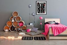 Hot pink and gray teen girl's room Would be cute grey and bright or soft blue