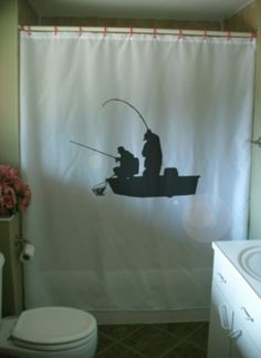 Fishing Boat Shower Curtain Fishermen Rod Net Male By Eternalart, $53.99