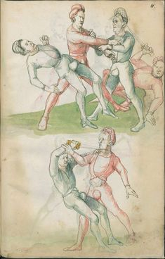 Ce manuscrit illustré du 16eme siècle, hébergé à la Bibliothèque d'Etat de Berlin, était surement destiné à apprendre aux combattants les bases du combat avec différentes épées. Je ne pensais pas qu'on était censé tenir l'épée «à l'envers» si souvent …