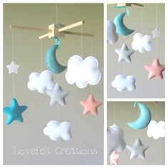 Baby Crib Mobile - Baby Mobile - Aqua Coral Mobile - Custom baby mobile - Pick your colors :)