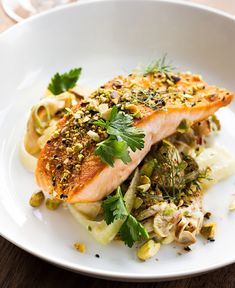 Dukkah-Spiced Salmon with Spring Vegetable & Oyster Mushroom Ragout Fish Recipes, Seafood Recipes, Healthy Recipes, Salmon Recipes, Yummy Recipes, Salmon Dishes, Fish Dishes, Cooking Salmon Fillet, Mediterranean Recipes