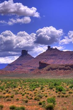 Sandstone Towers and Billowing Clouds - Moab, Utah