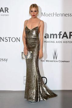 Sienna Miller in a Ralph Lauren gold sequin gown - amfAR Cinema Against AIDS Gala, click through for the full gallery