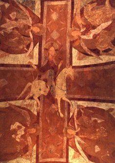 Pintura de la Cripta de Auxerre -Pintura románica francesa. Influencia bizantina de Montecasino.