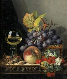 Edward Ladell (British, 1821-1886) - Still life with fruit and glass of wine on a table, oil on canvas, 36 x 30.5 cm.
