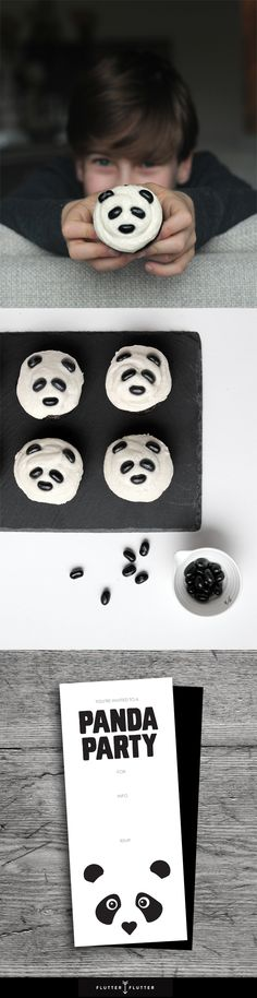 Panda Themed Kids Birthday Party, cupcakes, and invitation. More