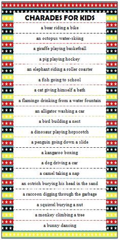 Kids Charades Ideas (Free Printable