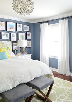 Blue walls Young House Love - One young family + one old house = love. White Curtains, Bedroom Decor, Bedroom Colors, Home, Interior, Curtains Bedroom, Bedroom Inspirations, Home Bedroom, Room