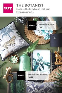 Step into the wild this season with the Botanist trend from Jungle patterns, botanical prints and rich greens bring this interiors trend to life, mixing animal inspired accessories with exotic glamour. Discover the full range now at Motif Jungle, Jungle Pattern, Goth Home Decor, Home Decor Bedroom, Botanical Bedroom, Impressions Botaniques, Living Room Green, Jungle Living Room Decor, Baby Room Design