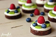 fudgy mini brownie fruit pies with almond cream cheese