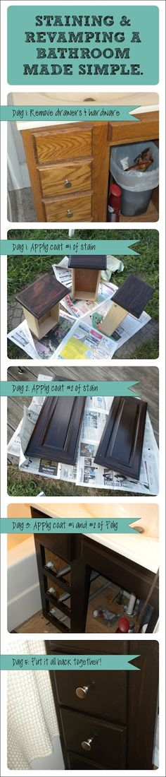 Easy How To: Reviving old cabinets with new stain!