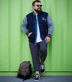 45 Tested Fashion Outfits for Heavy Men - Machovibes Big Men Fashion, Fashion Outfits, Outfits For Big Men, Big Boyz, Bomber Jacket, Ootd, Guys, Jackets, Clothes