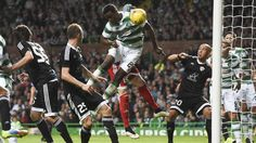 Celtic defender Dedryck Boyata opens the scoring against Qarabag Man Of The Match, Sport Man, Champions League, Celtic, Football, Baseball Cards, Shit Happens, Glasgow, Scores