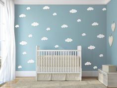 This listing is for a set of 26 White cloud decals in three different sizes. The approximate dimensions of the clouds are as follows: > 6 - 12W x 6.4H > 8 - 11.6W x 5.9H >12 - 6.3W x 4.6H Please leave your choice of color in the Note to Jesabi box when checking out. If no color is chosen your decal set will come in WHITE. ADDITIONAL INFORMATION: We use high-quality, waterproof, removable vinyl. Decals can be applied to almost any smooth, non-porous surface that is clean and dry. Our d...