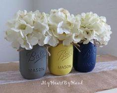 Grey Yellow and Navy Blue Distressed Mason Jars by MyHeartByHand