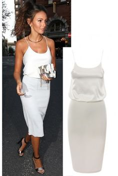Michelle Keegan Celebrity Inspired White Satin And Crepe Style Sleeveless Tunic Bodycon Dress