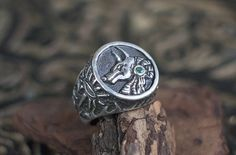 """Exclusive Ready 11 US Mens Emerald Sterling Silver Ring """"Anubis"""". Mans Signet Ring, Anubis God Ring, Emerald Ring, Eye of Horus ring by NellyRomanova on Etsy"""