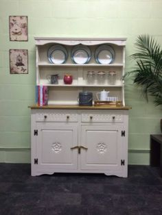Large Solid Oak Hand Painted Shabby Chic Welsh Dresser Farrow & Ball Clunch | eBay
