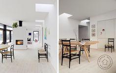Arkitekttegnet lavenergihus med ovenlys og glasfacade.