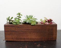 Triple Wooden Planter by MossTwig on Etsy, $30.00